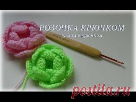 Rosette a hook - knitting by a hook #счастливая_рукодельница \\Rose hook