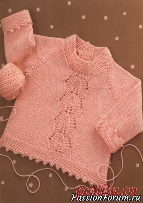 Вязание для малышей кофточки реглан с ажурной полосой - запись пользователя Лисик (Светлана) в сообществе Вязание спицами в категории Вязание спицами для детей
