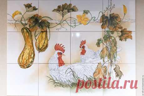 """Купить Фартук на кухню керамический """"Петух и курица"""" - разноцветный, фартук для кухни, роспись по керамике"""