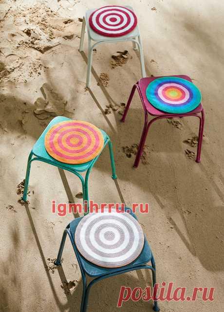 Круглые сидушки-подушки на табурет. Крючком. / igmihrru.ru
