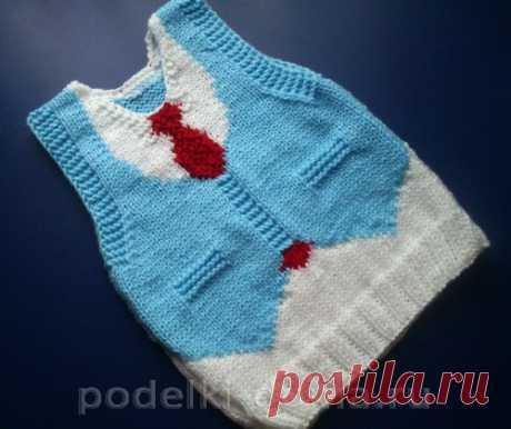 Вязаный жилет для мальчика (спицами) | podelki-doma.ru