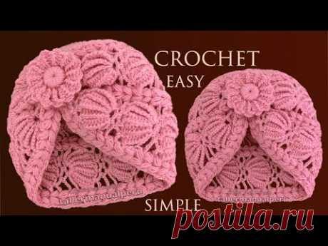 Como tejer a crochet gorro en punto conchas de abanico 3D tejido con ganchillo