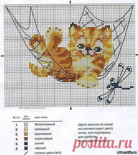 Схема для вышивки крестом. Котенок - Животные - Каталог статей - Бесплатные схемы для вышивки крестом