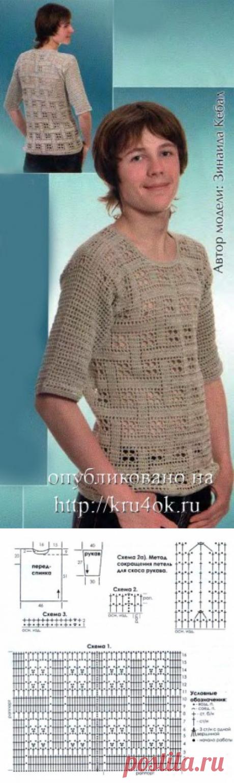 Тениска с клетчатым узором - вязание крючком на kru4ok.ru