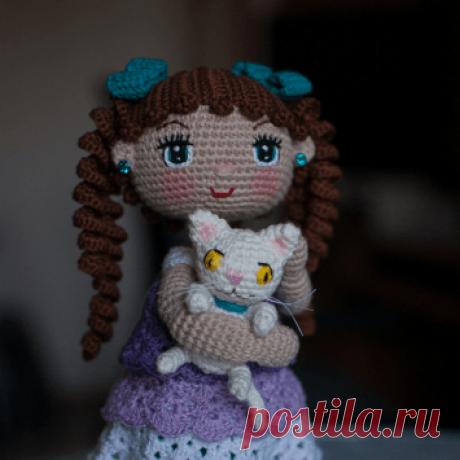 Вязаная кукла с котенком крючком   Вяжем крючком!!!   Яндекс Дзен
