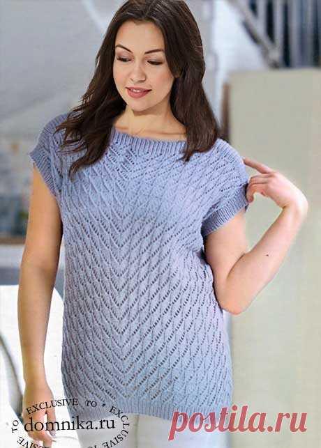 Вязание спицами стильной летней кофточки для полных женщин