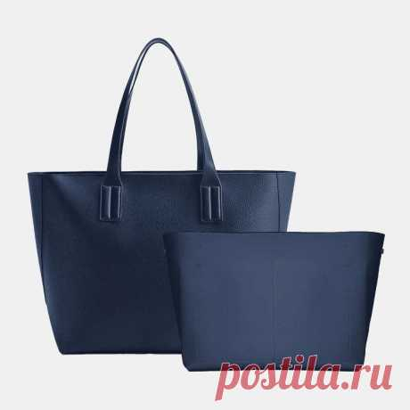Women 2PCS PU Leather Large Capacity Solid Color Casual Business Handbag - US$69.99