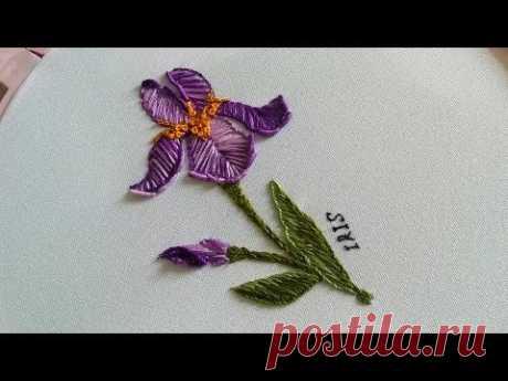Flower Embroidery: iris flowers | Вышивка: цветы Ирис