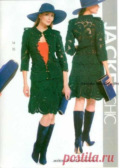Жакет и юбка ирландским кружевом   Тысяча и одна идея Схема: Женский летний костюм цветочными мотивами. Жакет и юбка ирландским кружевом крючком.