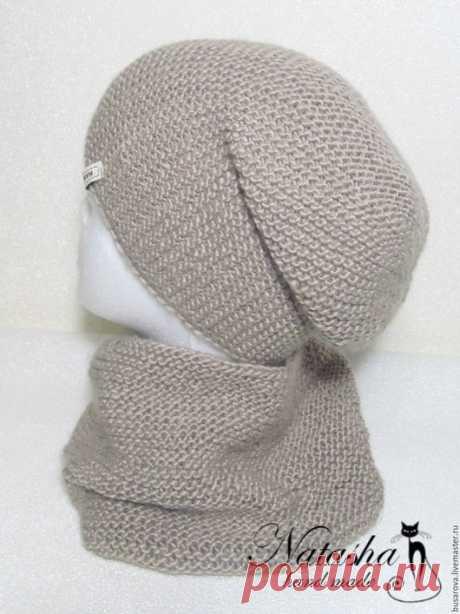 Купить Комлект шапка бини и снуд в один оборт - бежевый, комлект, шапка, шапка вязаная