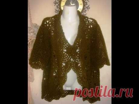 Жакет-болеро крючком. Часть 1 - вяжем мотив.Crocheted jacket. Part 1 - knit motif.