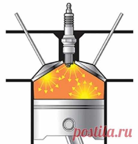 Что такое детонация двигателя - Мужской журнал JK Men's В обычных условиях сгорание топливно-воздушной смеси происходит в двигателе в спокойном режиме – пламя распространяется со скоростью около 20-50 м/с, давление в цилиндре нарастает равномерно, без выраженных скачков.