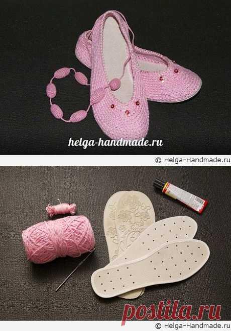 Как связать элегантные балетки крючком своими руками, мастер-класс | helga-handmade.ru