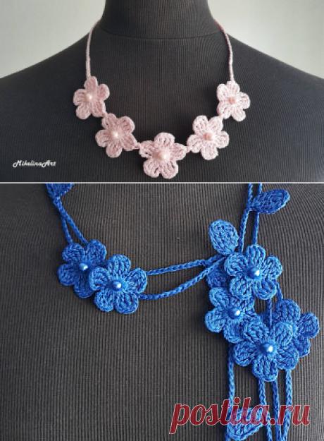 Häkeln Sie Halskette Häkeln Sie Hals Accessoire rosa 100 % | Etsy