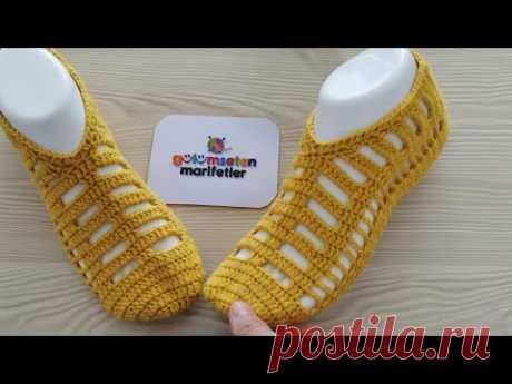 Очень просто вязаные крючком очень стильные пинетки модели носков