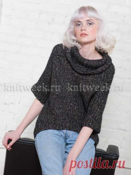 """Новинка от сайта Knitweek.ru.Простая модель женского пуловера """"Кэлли"""" с асимметричным низом детали переда"""
