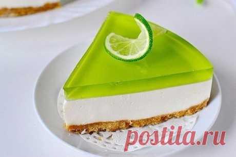 Как приготовить желейный торт без выпечки с лаймовым вкусом - рецепт, ингредиенты и фотографии