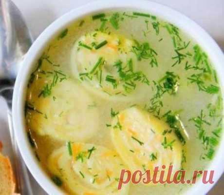 Куриный суп с сырными рулетиками. Рецепт: