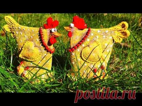 """Декоративные курицы """"под керамику"""" из папье-маше (paperclay) - YouTube"""