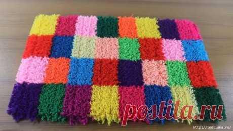 Красивый коврик из пряжи без усилий!