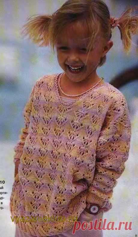 Пуловер спицами для девочек - Для девочек - Каталог файлов - Вязание для детей