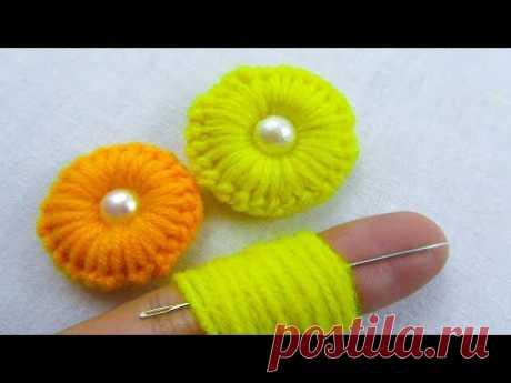 Hand Embroidery, Amazing Trick, Easy Flower Embroidery Trick, Sewing Hack, Crafts & Embroidery - Ручная вышивка, Удивительный трюк, Легкий трюк с цветочной вышивкой, Швейный рубчик, Ремесла и вышивка