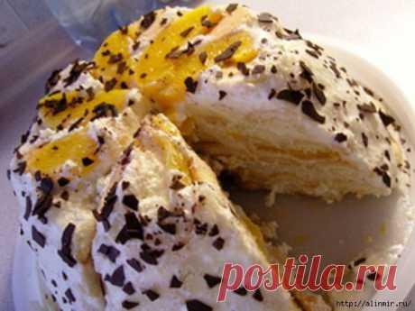 Слоеный торт Нежный персик.