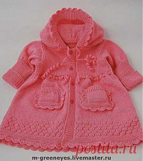Красивое вязаное пальто для маленькой девочки. Описание.   razpetelka.ru