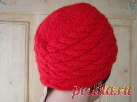 Knitted women's cap with braids | That on the head?