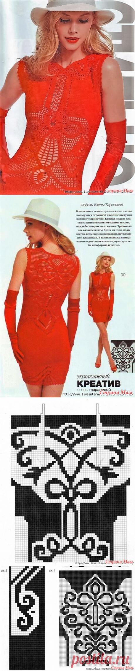 . Эксклюзивный креатив. Красное филейное платье от Елены Тарасовой. - Все в ажуре... (вязание крючком) - Страна Мам