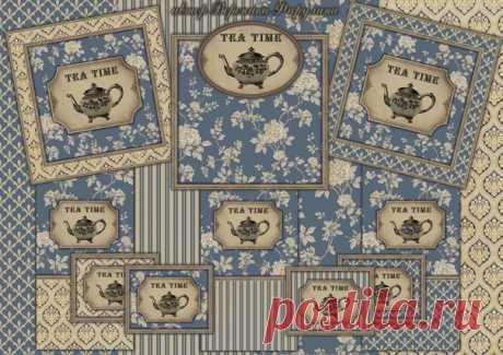 """ДОБРЫЙ ДЕНЬ, ДРУЗЬЯ! Сегодня у меня для вас чайная тема Хочу предложить вам новый набор в шикарных дымчато-синих тонах в сочетании с золотистыми оттенками. Набор можно использовать для создания в трех вариантах чайного домика, шкатулки для чайных пакетиков или сладостей, короба, конфетницы, салфетницы и многого другого.   Набор """"ВЕЧЕРНЕЕ ЧАЕПИТИЕ""""  Показать полностью…"""