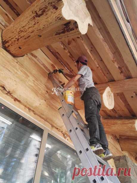 Обработка древесины - шлифовка и покраска деревянного дома в Москве