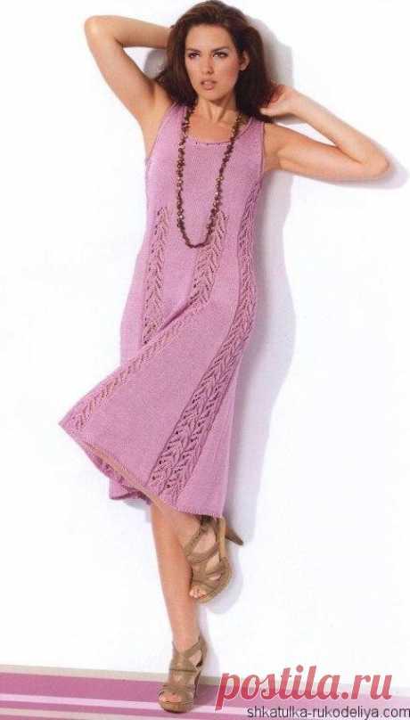 Платье «Monaco» Летнее платье без рукавов спицами. Платье с ажурными вставками описание