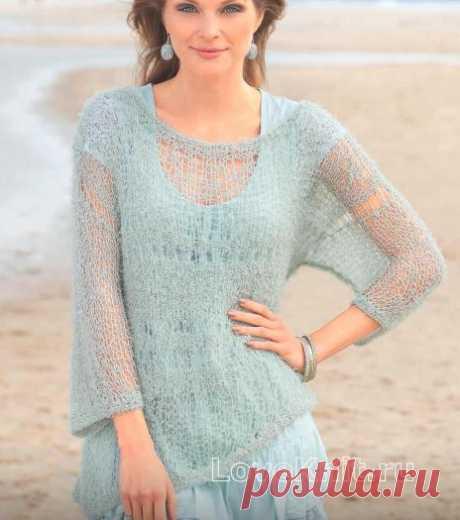 Легкий пуловер цвета мяты с широкими рукавами схема спицами