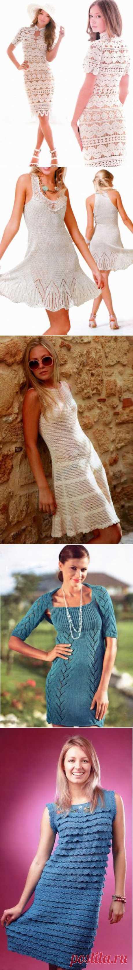 60 модных идеи платьев. Красивые вязаные платья спицами и крючком. Часть 2 | Креативное Вязание