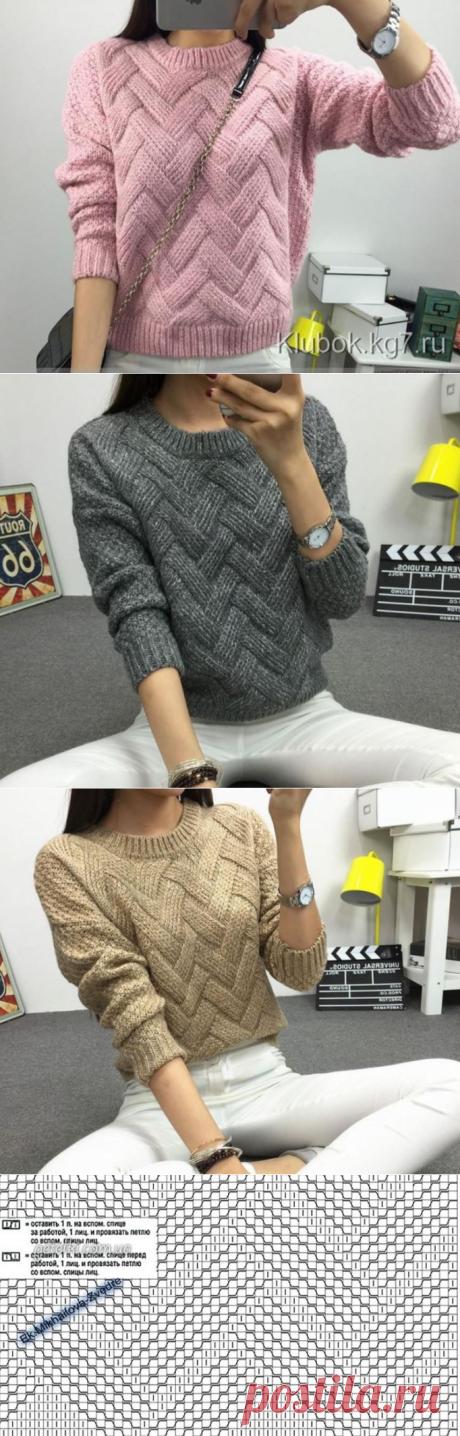 Вязание свитера с ложной косой, схема структурного узора