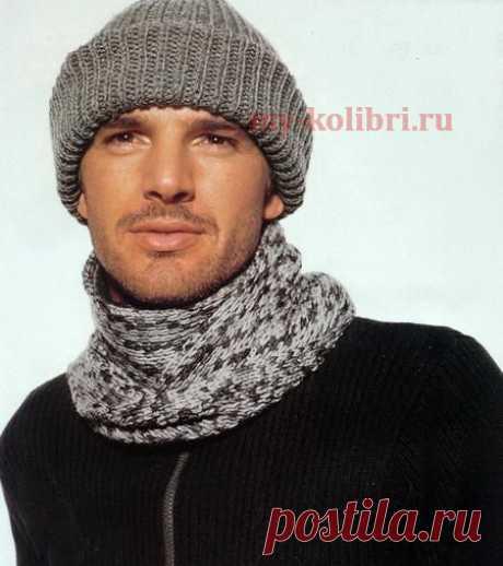 Мужская шапка и шарф спицами полупатентным узором - Колибри Хорошо и модно выглядеть любят не только представительницы прекрасной половины человечества. Чувство