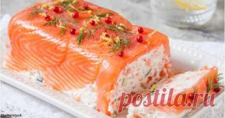 Сытно и вкусно: Террин с копчёным лососем и сливочным сыром