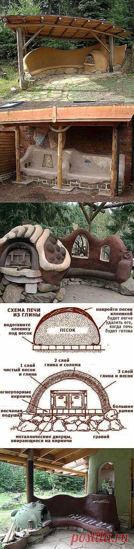 Дачные постройки: оригинальные скамейки под навесом