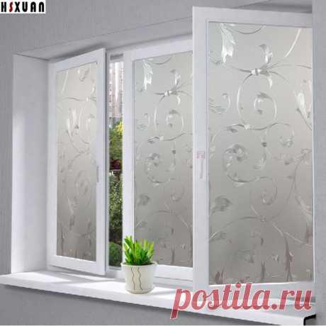 """Непрозрачный матовый плёнок на окне, с рисунком  3D рельефные цветков , Бренд """"Hsxuan"""" ,1 лист , 40cmx100cm . 400829 купить на AliExpress"""