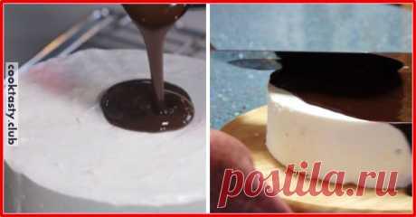 """Очень нежный и вкусный торт """"Птичье молоко"""" Вам потребуется: Для торта: 2 пакета желатина (по 8 г) 1 стакан молока 1 стакан сахара 450 г сметаны 450 г охлажденных взбитых сливок растительное масло для смазывания формы Для глазури: 5 столовых ложек какао-порошка 5 столовых ложек сахара 1 пакет желатина (8 г) 5 столовых ложек молока 1 стакан холодной воды Приготовление: В небольшой …"""