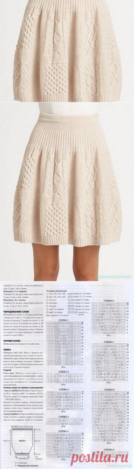 Красивое вязание | Юбка вязанная спицами