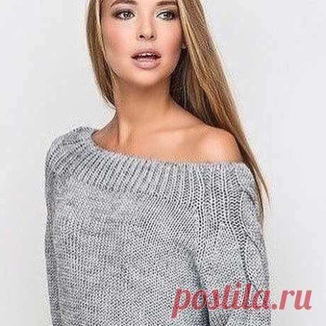 Уютный пуловер спицами
