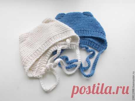 вяжем шапочку с ушками для новорожденного
