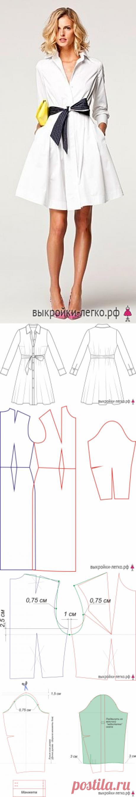 Выкройка элегантного платья-рубашки | Готовые выкройки и уроки по построению на Выкройки-Легко.рф