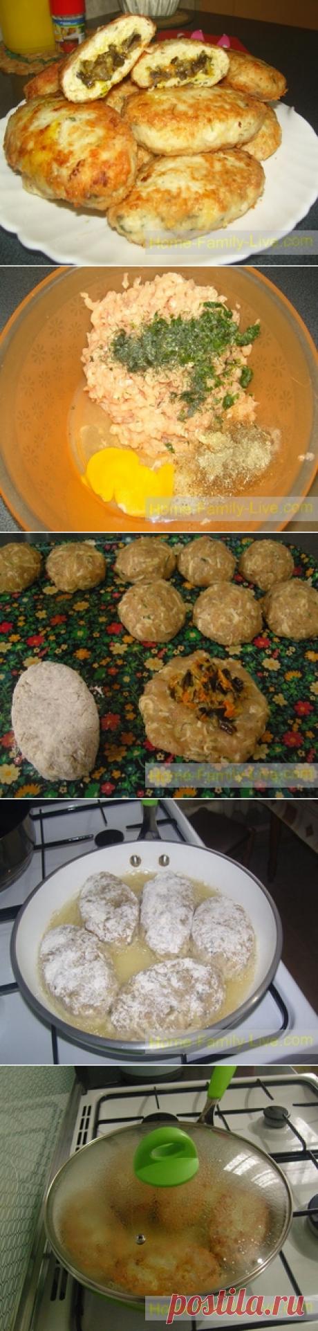 Котлеты с начинкой - пошаговый рецепт зразы с грибамиКулинарные рецепты