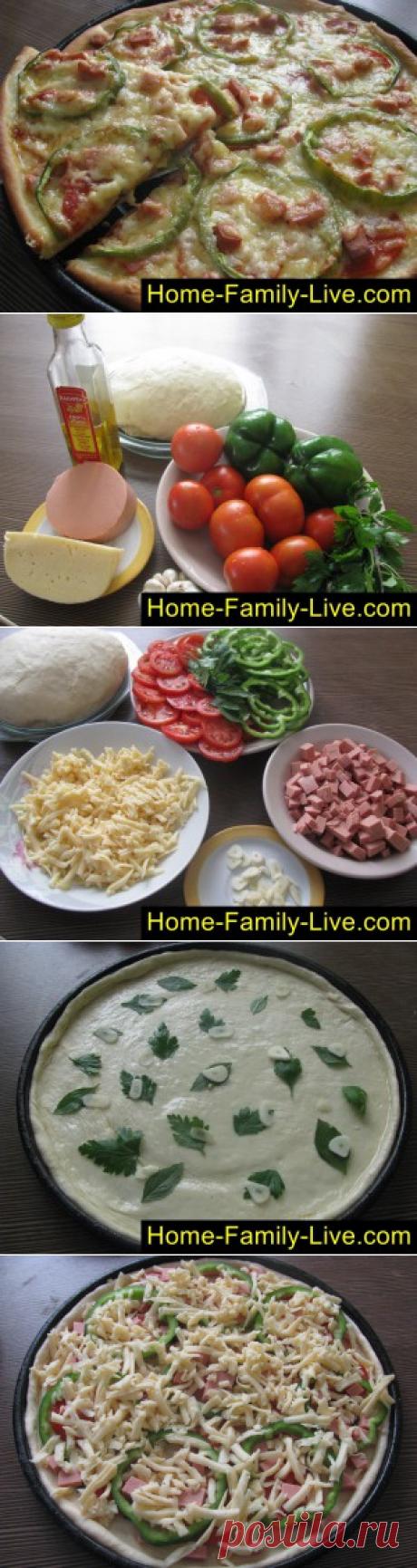 Пицца - пошаговый фоторецепт - пицца с колбасойКулинарные рецепты