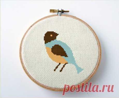 Bird cross stitch pattern mid century modern style small easy   Etsy