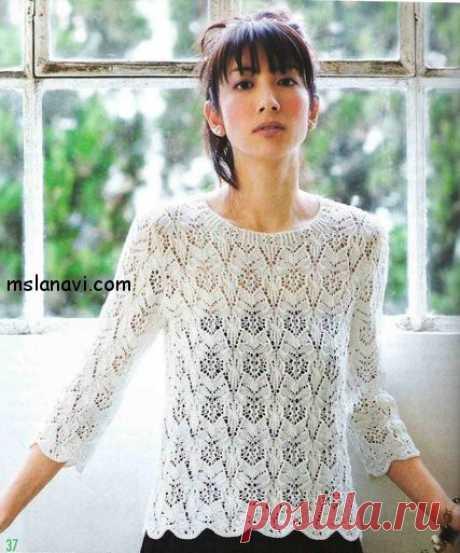 Ажурный пуловер с рукавами три-четверти | Вяжем с Лана Ви