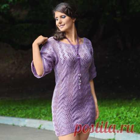 Платье-туника Вязаное спицами платье-туника. Описание